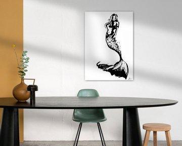 Digitales Kunstwerk - Schwarz-Weiß-Poster einer Meerjungfrau von Emiel de Lange