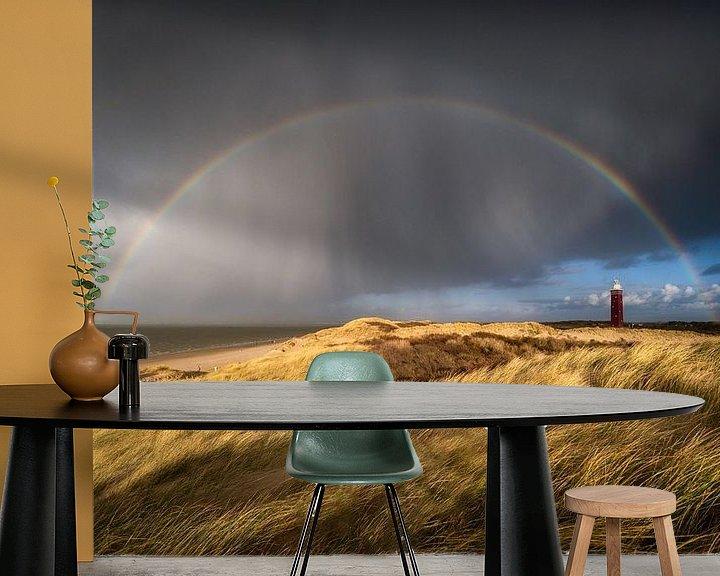 Beispiel fototapete: Ein Regenbogen über dem Leuchtturm von Ouddorp von Ellen van den Doel