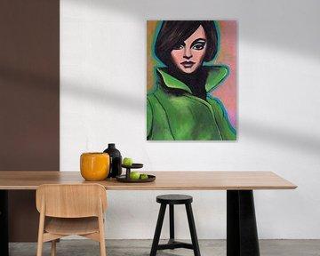 Mädchen im grünen Mantel (Nahaufnahme) von Lucienne van Leijen