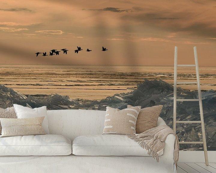 Sfeerimpressie behang: in vogelvlucht van Nico Dam