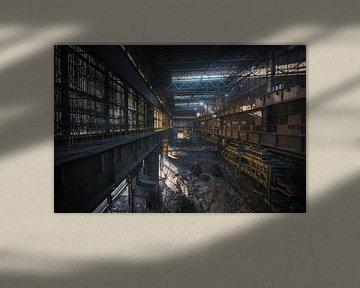 Een oude verlaten staalfabriek in België
