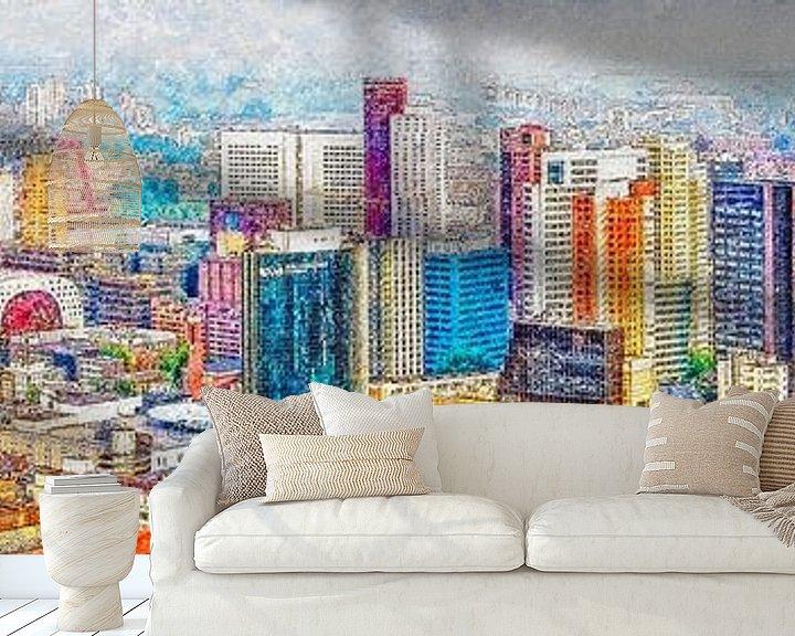Sfeerimpressie behang: Panorama binnenstad Rotterdam van Frans Blok