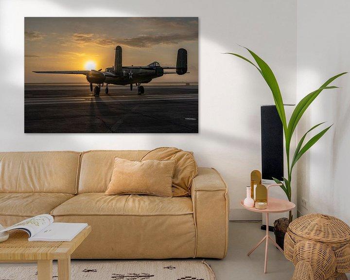 Sfeerimpressie: Een middelzware bommenwerper uit de Tweede Wereldoorlog, de North American B-25 Mitchell, gefotograf van Jaap van den Berg