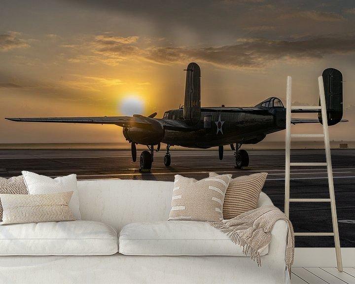 Sfeerimpressie behang: Een middelzware bommenwerper uit de Tweede Wereldoorlog, de North American B-25 Mitchell, gefotograf van Jaap van den Berg