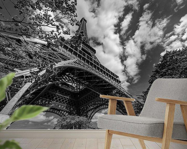 Beispiel fototapete: Eiffelturm in Schwarz und Weiß von Bert-Jan de Wagenaar
