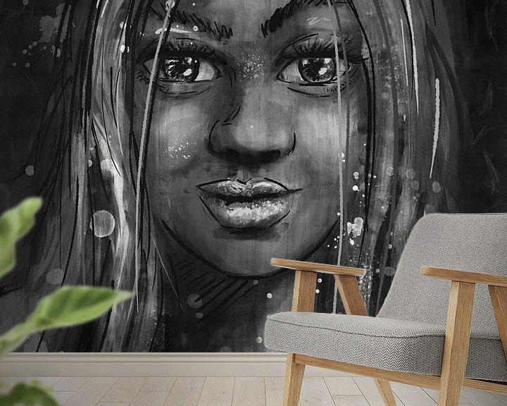 Beispiel fototapete: Schwarz-Weiß-Porträt - Mischtechnik - Malen mit verschiedenen Techniken von Emiel de Lange