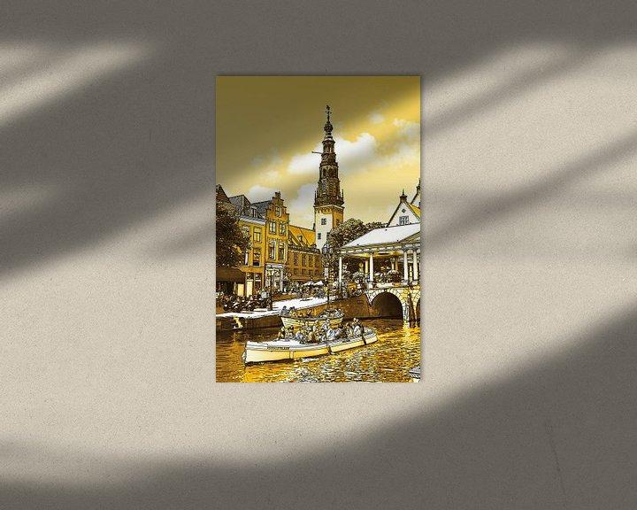 Sfeerimpressie: Pentekening Leiden Gouden Tekening Stadhuis en Kroonbrug Lijntekening van Hendrik-Jan Kornelis
