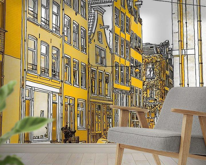 Sfeerimpressie behang: Pentekening Gouden Noordermarkt Tekening Amsterdam Lijntekening van Hendrik-Jan Kornelis