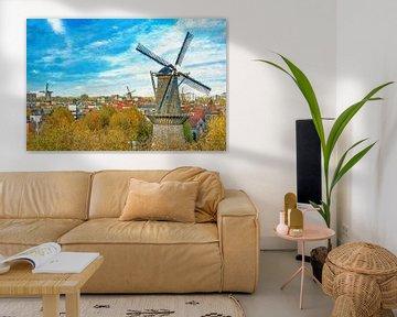 Verschildering molens Schiedam van Frans Blok