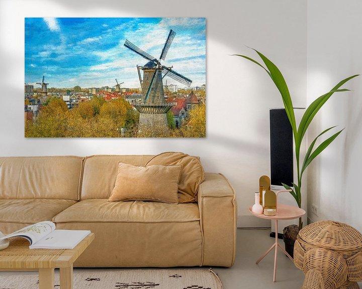 Sfeerimpressie: Verschildering molens Schiedam van Frans Blok