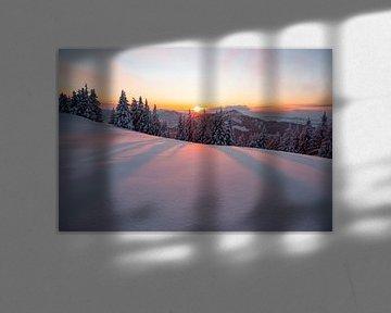 Zonsondergang vanaf Werther Hörne richting Grünten van Leo Schindzielorz