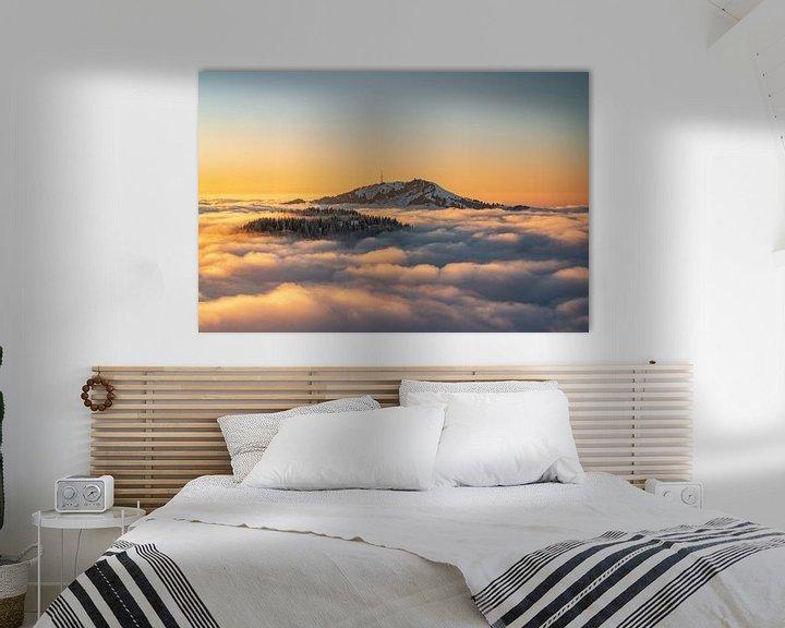 Sfeerimpressie: Zonsondergang boven de Grünten tijdens inversieweer van Leo Schindzielorz