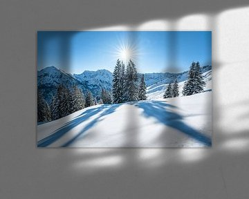 Winteruitzicht op de Allgäuer Alpen van Leo Schindzielorz