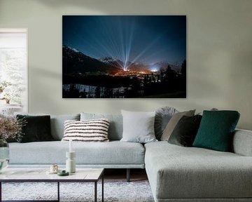 Lasershow voor de FIS Noordse Ski Wereldkampioenschappen 2021 in Oberstdorf van Leo Schindzielorz