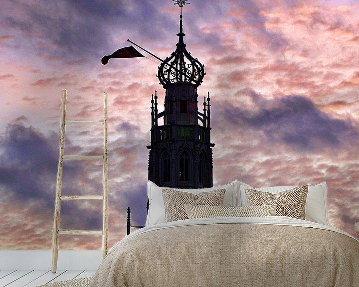 Sfeerimpressie behang: Bakenessertoren, Haarlem (2020) van Eric Oudendijk