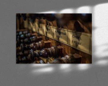 Registerknöpfe einer Orgel von Gerrit Veldman