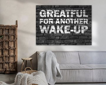 Wake-up Graffiti Text Design in schwarz und weiß von KalliDesignShop