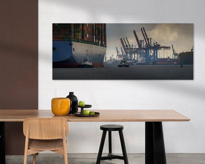 Beispiel: Großes Containerschiff läuft im Hamburger Hafen ein von Jonas Weinitschke