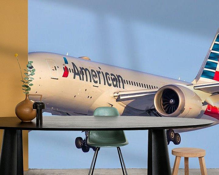 Sfeerimpressie behang: American Airlines Boeing 787 Dreamliner van Dennis Dieleman