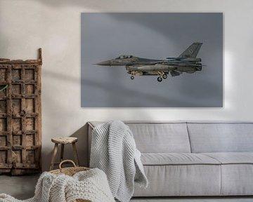 Nederlandse F-16 (J-060) in de landing gefotografeerd bij vliegbasis Leeuwarden tijdens de winterse  van Jaap van den Berg