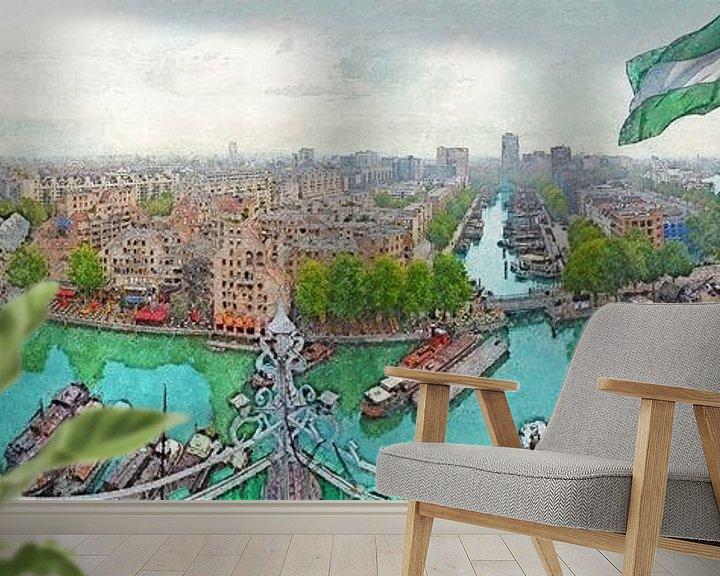 Sfeerimpressie behang: Panorama Oude Haven Rotterdam van Frans Blok
