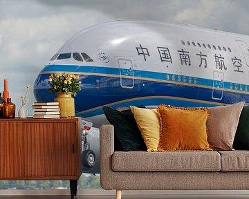 Take-off! Opstijgen van een Airbus A380 van China Southern Airlines vanaf de Polderbaan. van Jaap van den Berg