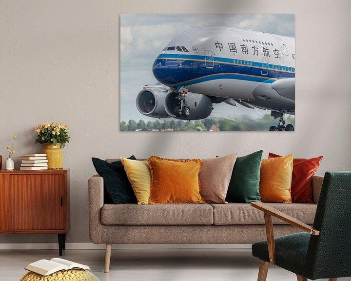 Sfeerimpressie: Take-off! Opstijgen van een Airbus A380 van China Southern Airlines vanaf de Polderbaan. van Jaap van den Berg