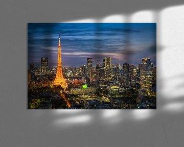 Nachtelijke skyline van Tokio van Michael Abid