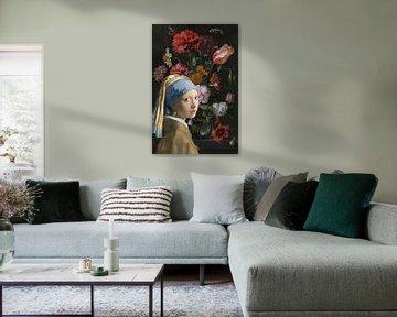 Meisje met de parel ine en bloemenzee van Eigenwijze Fotografie