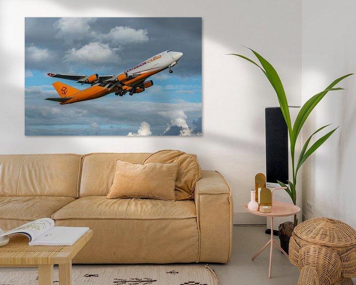 Sfeerimpressie: Take-off! Boeing 747-400 Cargo van Centurion Cargo is zojuist opgestegen van de Kaagbaan. van Jaap van den Berg