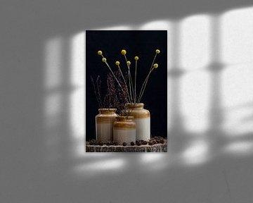 stilleven droogbloemen in Doulton & Watts potten van Klaartje Majoor
