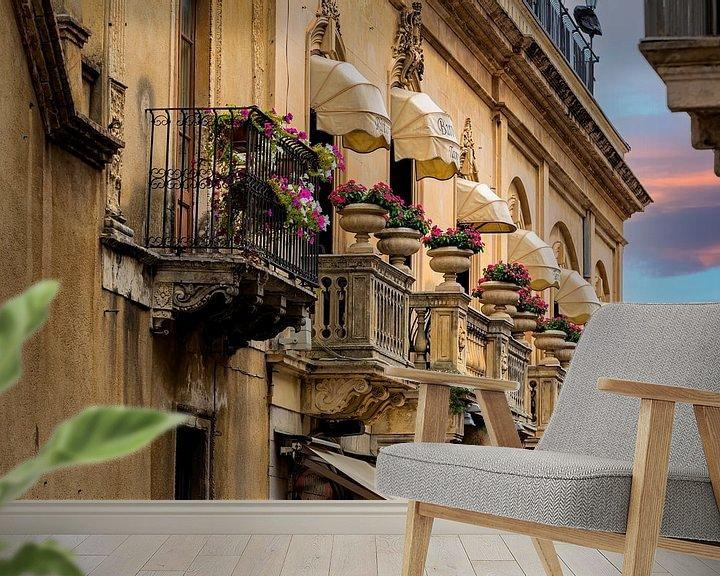Sfeerimpressie behang: Sicilian balconies van Costas Ganasos