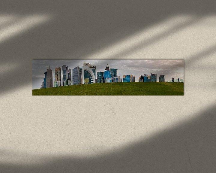Sfeerimpressie: Doha skyline in West Bay district, Doha, Qatar panoramisch uitzicht bij daglicht van Mohamed Abdelrazek