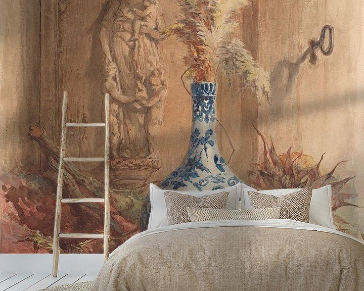 Beispiel fototapete: Stilleben mit chinesischer Vase und getrockneten Sonnenblumen, Maria Vos