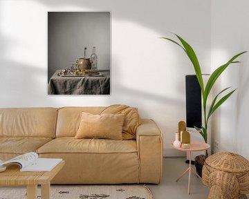 Modern stilleven met asperges, limoenen en schelpen [rechthoekig staand] van Affect Fotografie