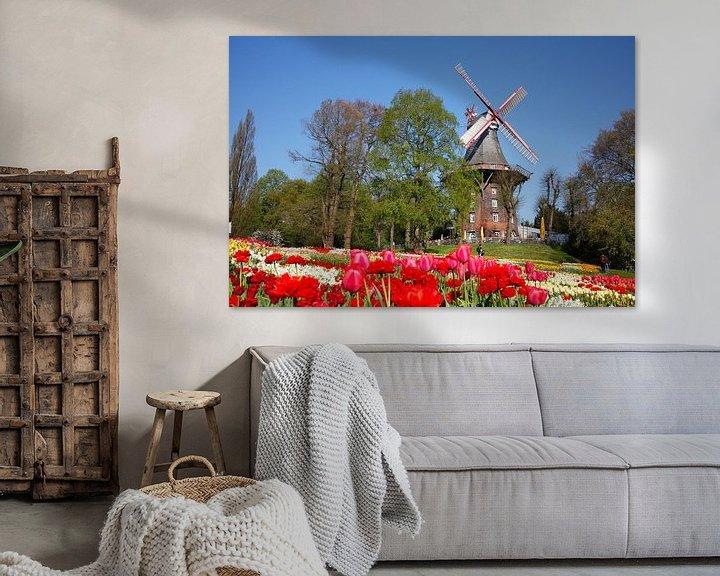 Impression: Moulin, moulin à vent, moulin, fleurs, Brême, Allemagne, Europe sur Torsten Krüger
