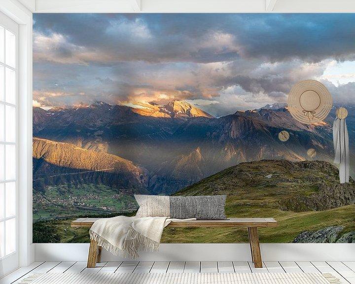 Sfeerimpressie behang: Zonsondergang in Wallis van Martijn Joosse