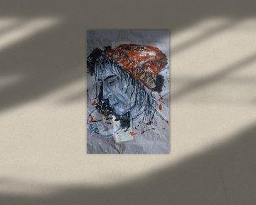 Porträt eines Mannes mit orangefarbenem Hut/Beanie und Surfbrett von jolanda verduin