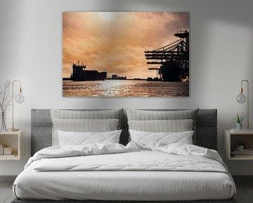 Containerschepen in de haven van Rotterdam tijdens zonsondergang van Sjoerd van der Wal