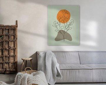 Minimalistisch landschap met een eucalyptus boom en een zon van Tanja Udelhofen