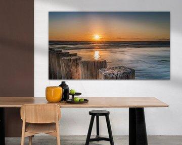 Zonsondergang op strand Hollum Ameland van Harold van den Hurk
