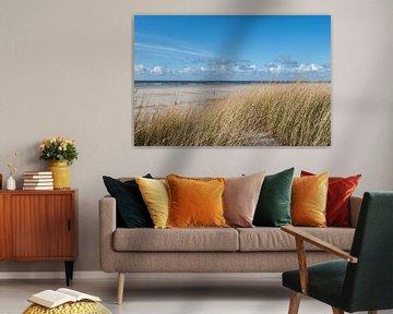 Texels strand aan de Waddenzee van Maurice De Vries