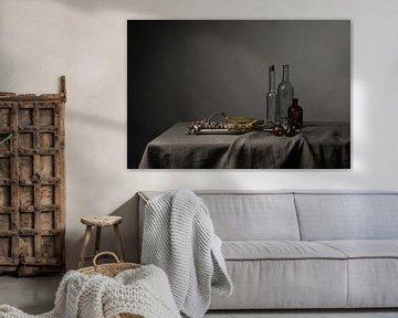 Stilleven met schelpen, asperges en glaswerk van Affect Fotografie