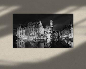 De Rozenhoedkaai in zwart-wit, Brugge