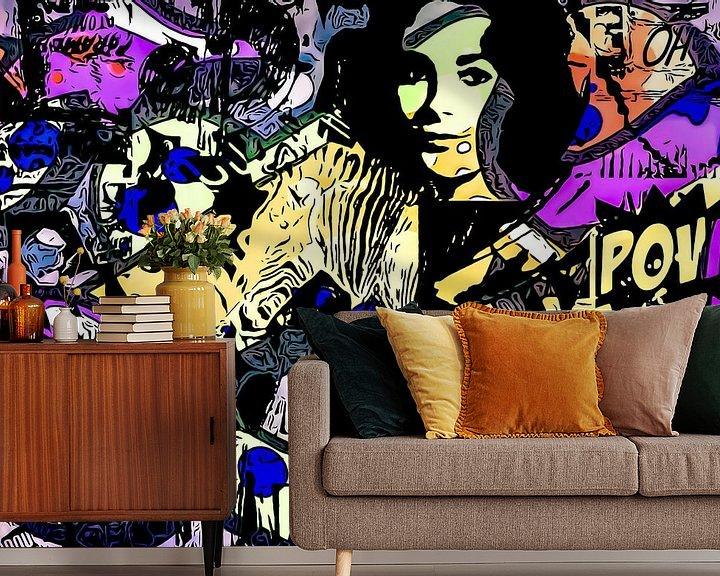 Sfeerimpressie behang: Blauwe stippen - POP Art van zam art
