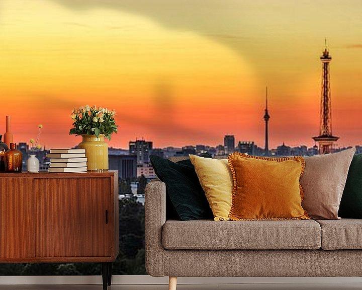 Beispiel fototapete: Berlin City Skyline im Sonnenaufgang von Frank Herrmann