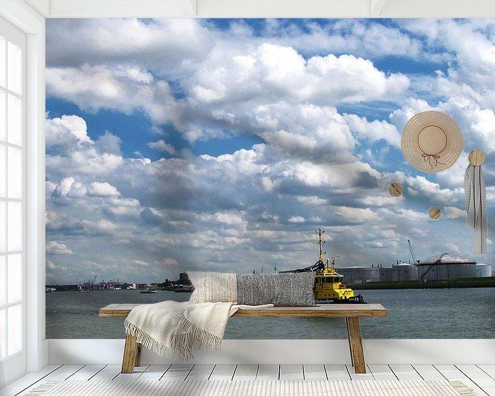 Sfeerimpressie behang: Inspectie vaartuig op de Nieuwe Waterweg van M  van den Hoven