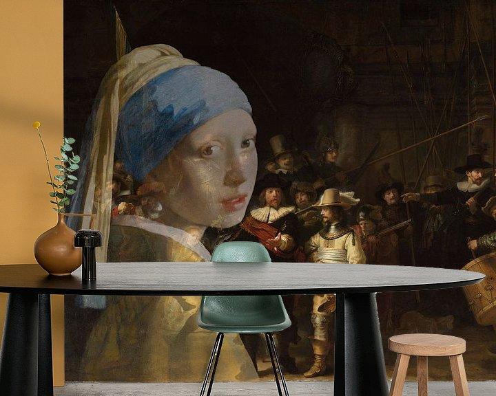 Sfeerimpressie behang: Meisje met de parel bezoekt de nachtwacht van Eigenwijze Fotografie