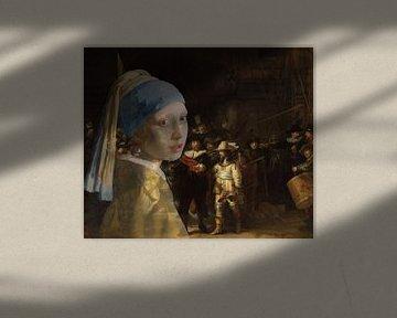Girl with a Pearl Earring besucht die Nachtwache von Eigenwijze Fotografie