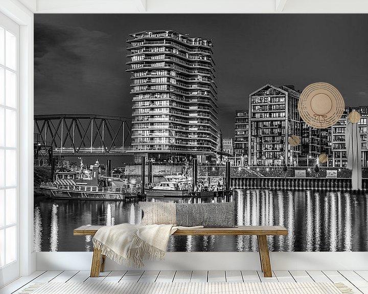 Sfeerimpressie behang: Nijmegen by night #2 (zwart wit) van Lex Schulte